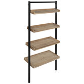 Brown & Black Four-Tiered Leaning Wood Wall Shelf