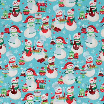 Baking Snowmen Cotton Fabric