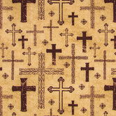 Brown Crosses Cotton Calico Fabric