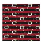 Santa Belts Striped Gift Wrap