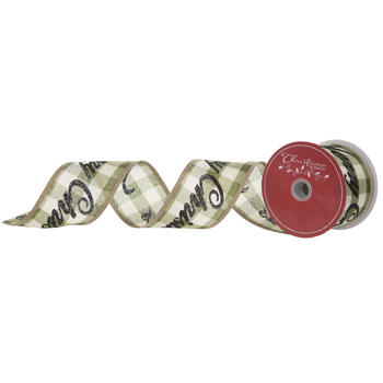 Buffalo Check Merry Christmas Wired Edge Ribbon - 2 1/2""