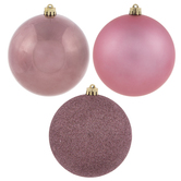Velvet Pink Shiny, Matte & Glitter Ball Ornaments