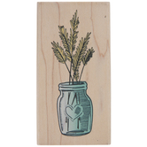 Grass In Heart Jar Rubber Stamp