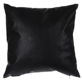 Matte Black Leather Snakeskin Pillow