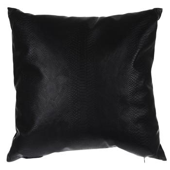 Matte Black Leather Snakeskin Pillow