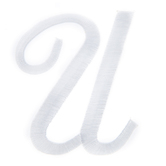 White Script Letter Iron-On Applique U - 3""