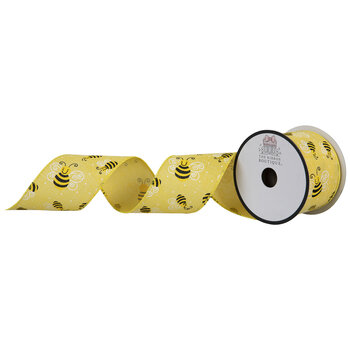 """Yellow Bees Wired Edge Ribbon - 2 1/2"""""""