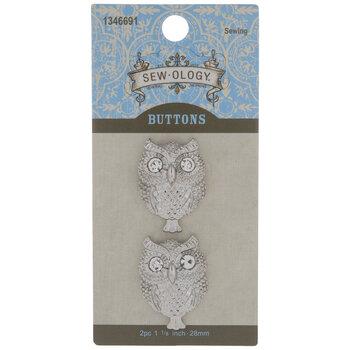 Silver Owl Shank Buttons - 28mm