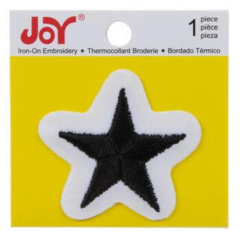 Black Star Iron-On Applique - 1 Piece