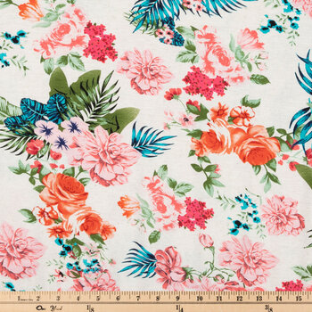 Flowers & Palm Leaves Knit Fabric
