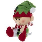 Plush Elf Holding Candy Cane
