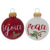 Peace & Rejoice Holly Ball Ornaments