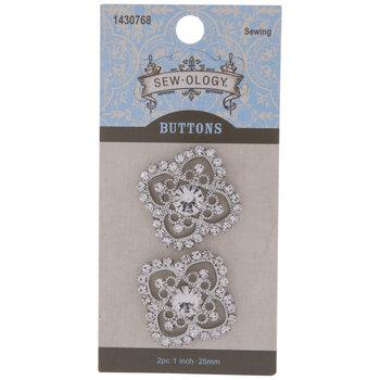 Scroll Rhinestone Shank Buttons - 25mm