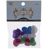 Glitter Heart Shank Buttons