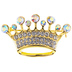 Small Crown Rhinestone Brooch