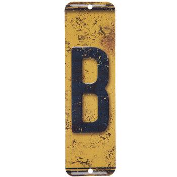 License Plate Letter Metal Sign - B