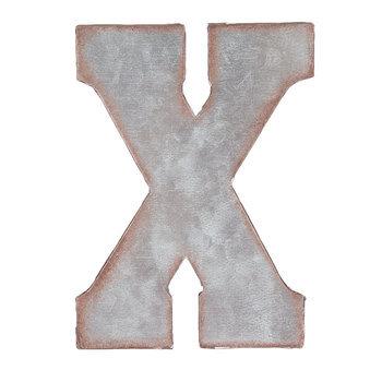 Galvanized Metal Letter Wall Decor - X