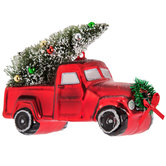 Red Pickup Truck With Tree Ornament