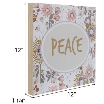 Floral Peace Wood Wall Decor