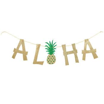 Aloha Pineapple Glitter Banner