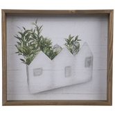 House-Shaped Planter Wood Wall Decor