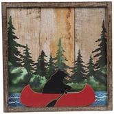 Canoe Bear Wood Wall Decor