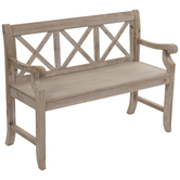 Cross-Back Wood Bench