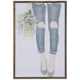 Ripped Jeans & Bouquet Wood Wall Decor