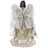 Angel With Poinsettias Tree Topper