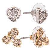 Heart & Flower Rhinestone Earrings