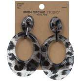 Black & Gray Animal Print Dangle Earrings