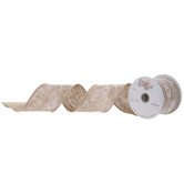 Burlap With Lace Wired Edge Ribbon - 2 1/2""