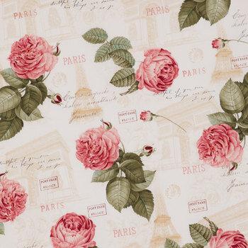 Paris Rose Floral Cotton Calico Fabric