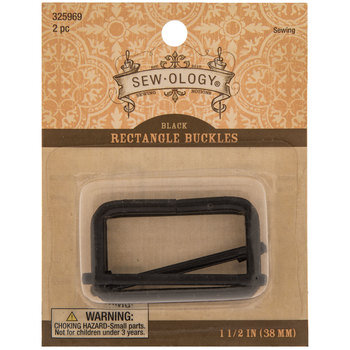 Black Rectangle Buckles - 1 1/2""