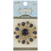 Blue & Gold Rhinestone Shank Button - 45mm