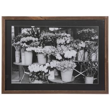 Buckets Of Flowers Framed Wood Wall Decor