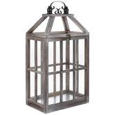 Brown Rectangle Wood Lantern