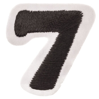 """Black Embroidered Iron-On Number 7 - 1 1/2"""""""