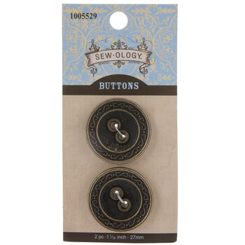 Antique Gold Scroll Edge Metal Buttons - 27mm