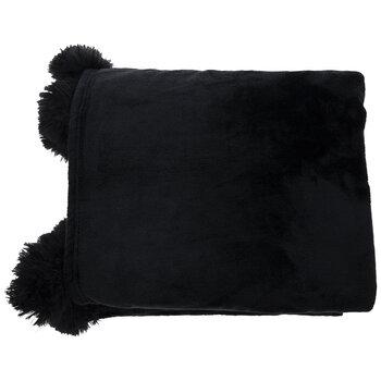 Throw Blanket With Pom Poms