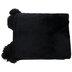Black Throw Blanket With Pom Poms