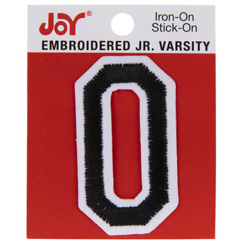 "Black Junior Varsity Letter Iron-On Applique O - 2"""