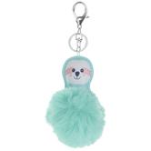 Mint Fuzzy Pom Pom Sloth Keychain