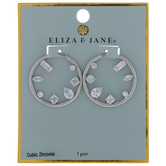 Cubic Zirconia Stone Hoop Earrings