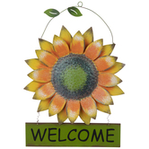 Welcome Sunflower Metal Wall Decor