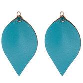 Blue Teardrop Leather Pendants