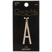 14K Gold Plated Pearl Letter Pendant - A