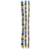 Purple, Green & Blue Glass Round Bead Strands