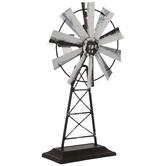 Whitewash Metal Windmill