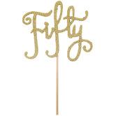 Gold Glitter Fifty Cake Topper